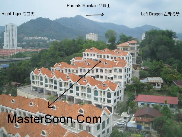 Penang Property Feng Shui - Land Formation determines the ultimate quality of the property feng shui.  The Geophysic determines the superiority and inferiority of the feng shui outcome to a considerably large percentage.  槟城产业风水。地点,地形,地势,地理格局 决定了该地产的风水素质。风水地形峦头占据了大部分的风水素质百分比率。