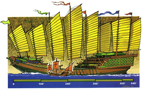 1421A.D. A Comparison of Admiral Cheng He (Chinese Muslim) flagship's and the Santa Maria, Columbus' Largest Vessel. For each expedition, Admiral Zheng He took 30,000 sailors together for Ocean explorations.