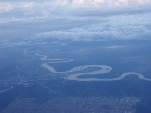 On 04 Jan 2011, 7:30am on the airplane. 1800ft above sea level. I took this river flow water.