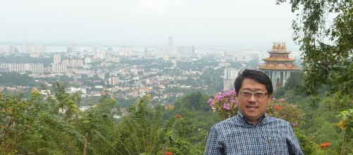 At my back is the township of Georgetown of Penang.