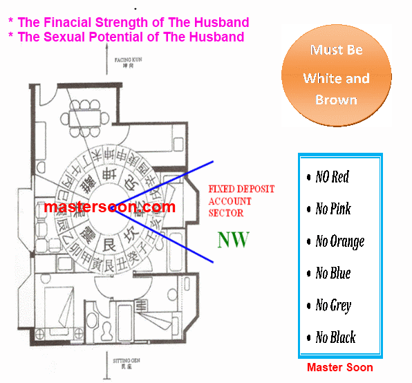 The NW sector represents the husband strength from 2 perspectives, namely, Financial Strength and Sexual Strength.Feng Shui from Master Soon