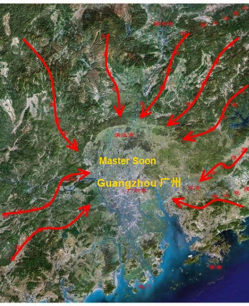 There are 9 mountainous ranges run into Basin of Pearl River, which nicely place Guangzhou in the acute centre of This 9 Dragons Land Formation.
