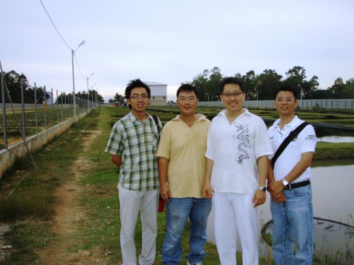 Bryan Ong, Mr Neoh, Master Soon and Ong Wee Jin. We are in the fish farm for metaphysical enhancement for wealth by REAL Feng Shui.
