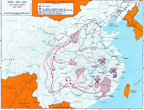 Long March. It was considered as militarily wrong to launch Long March as it caused life and huge loss to communist during the expedition. However, it was metaphysically and absolutely correct to launch this as this led the enemy(Nationalists) into South/South east , the corner of Death Gate. Today,   Nationalist has only occupied Taiwan.