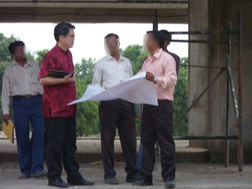 Having Discussion with architect and project manager at the site of the bungalow. Master Soon in India Oct/Nov 2011