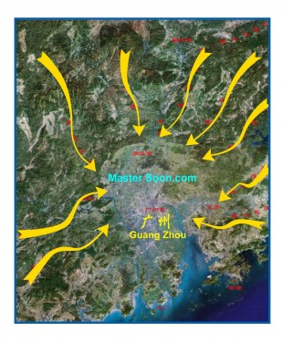 Multiple Dragons enter into the Pearl River Delta, where Guangzhou is the centre of this land formation