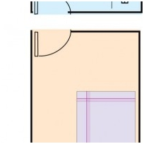Bedroom confronting kitchen
