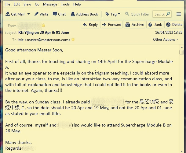 Testimonial of a couple who attended Module A on 14 Apr 2013