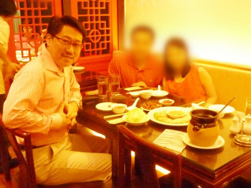 I was having Chinese New Year meal with Mr & Mrs Wong in Singapore on 16 Feb 2013