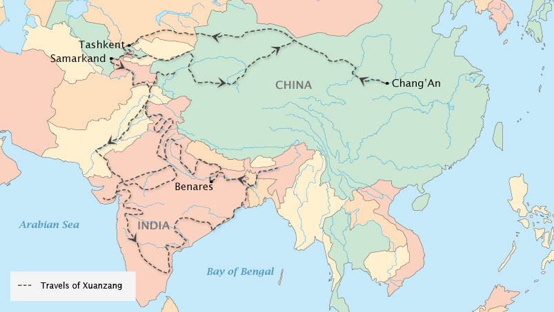 Xuanzang route from China to India during Tang Dynasty (618AD-907 AD)