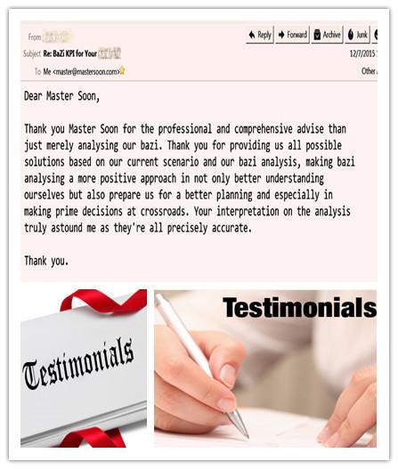 Testimonials for BaZi(Destiny) Consultation